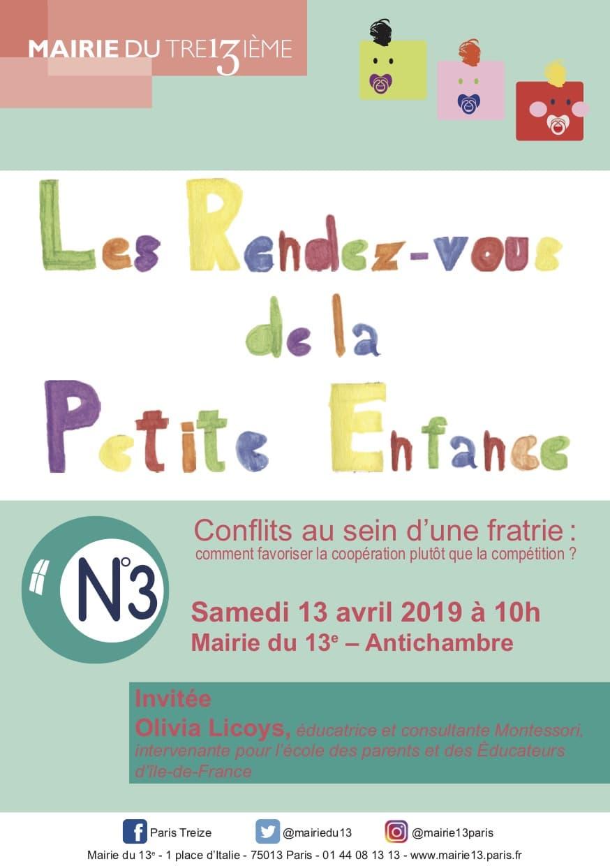 Conférence Montessori Fratrie Olivia Licoys Mairie de Paris